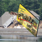 A giant postcard rests upon a destroyed home near Southern Hills lake