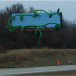 Magic beans are used to form an advertising message along HWY 65